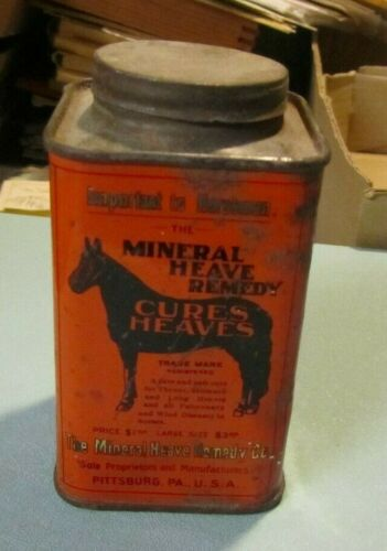 1906 Mineral Heave Remedy Horse Disease Cure Medical Advertising Tin Pittsburgh