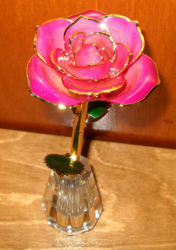 Bradford Exchange Preserved Rose 24K Gold Plated Glass Vase  Table Centerpiece