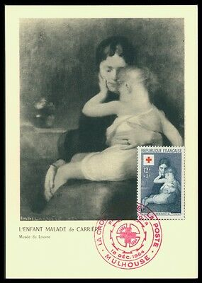 FRANCE MK 1954 ROTES KREUZ CARRIERE ART LOUVRE CARTE MAXIMUM CARD MC CM ax78