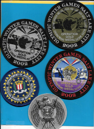 LOT OF 5 federal patches FBI USMS 2002 OPER GOLD METEL SET (FIRE) MARSHAL OGDEN