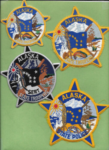 LOT OF 4 ALASKA STATE TROOPERS SMALL SERT BLUE LETTER YELLOW LETTERS (FIRE) AKSP