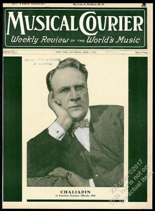 1934 Feodor Chaliapin photo Musical Courier framing cover