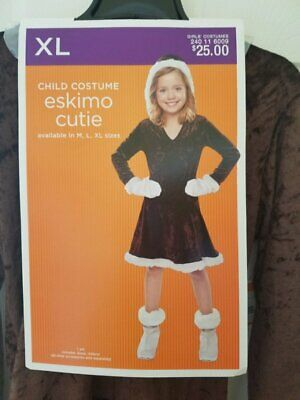 New Girl Up Halloween Costume Eskimo Cutie Brown Dress Mittens Size XL14/16](Eskimo Halloween Costume Girl)