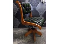Stunning Unique Chesterfield Captains Chair Green Leather - UK Delivery