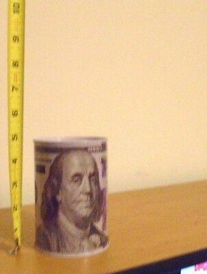 Small Hundred Dollar Bill Ben Franklin Tin Money Piggy Bank