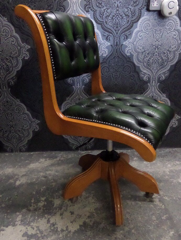 stunning unique chesterfield captains desk office chair green