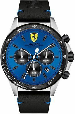 Ferrari 830388 Pilota Men's Stainless Steel Leather Strap Watch - Blue - 932