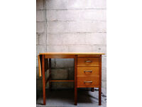 VINTAGE RETRO MID CENTURY TEAK THREE DRAWER DESK EXTENDABLE