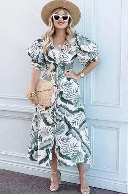 H&M X Johanna Ortiz Leaf Print Linen Blend Dress- Size 12