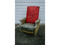 QUIRKY VINTAGE INDISTRIAL LOOK RETRO ARMCHAIR PILOTS AIRPLANE CHAIR FUNKY BACHELOR PAD RECLINING