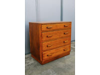 VINTAGE RETRO MID CENTURY UTILITY GOLDEN OAK WOODEN CHEST OF FOUR DRAWERS