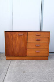 VINTAGE RETRO MID CENTURY TEAK G-PLAN GPLAN E.GOMME CHEST OF DRAWERS AND CUPBOARD DANISH STYLE