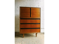 VINTAGE RETRO MID CENTURY TALLBOY CUPBOARD WALNUT CHEST OF DRAWERS MEREDEW STAG STYLE
