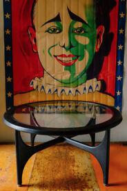 VINTAGE RETRO G PLAN ASTRO STYLE GLASS COFFEE TABLE
