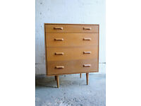VINTAGE RETRO MID CENTURY TEAK CHEST OF FOUR DRAWERS STAG BY JOHN AND SYLVIA REID