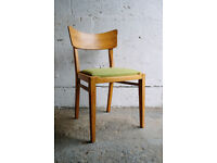 VINTAGE RETRO MID CENTURY G-PLAN G PLAN GOLD LABEL WINGBACK E.GOMME OAK DINING CHAIR LIME GREEN