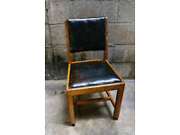 VINTAGE ANTIQUE LEATHER AND OAK CHAIR DINING CHURCH STUDDED