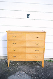 VINTAGE RETRO MID CENTURY LARGE UTILITY CHEST OF FOUR DRAWERS BLONDE LIGHT OAK