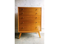 VINTAGE RETRO MID CENTURY MCM LARGE MAPLE CHEST OF FIVE DRAWERS