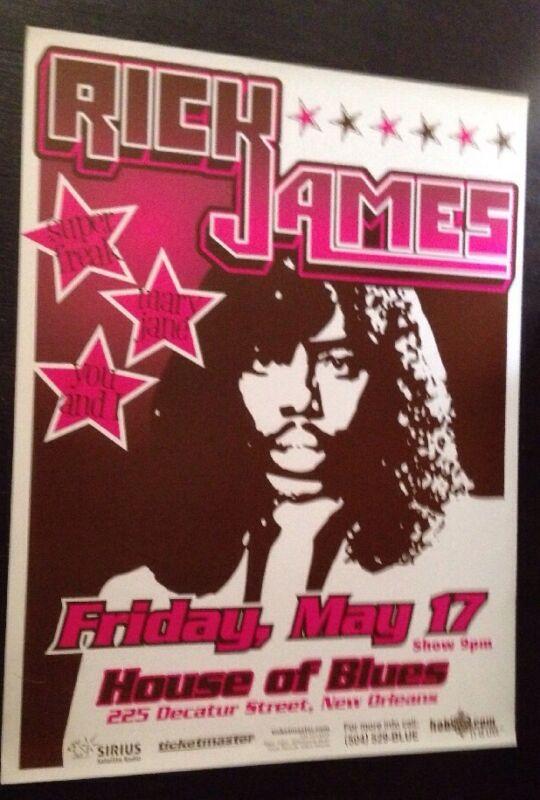Rick James Concert Poster 2000 House Of Blues New Orleans Rare Jazz Fest