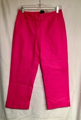 NWT Ann Taylor Curvy Cropped Capri Cuffed Pants  12P  $70  Hibiscus Pink - Hibiscus Capri Pants