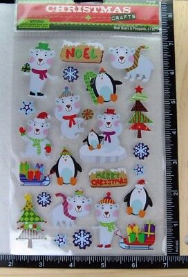 Christmas Crafts NOEL BEARS AND PENGUINS Stickers CHRISTMAS NEW ()