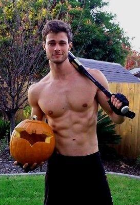 Shirtless Male Athletic Athlete Baseball Halloween Pumpkin Jock PHOTO 4X6 - Halloween Jocks