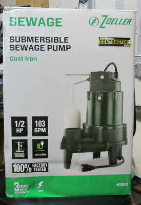 Zoeller Submersible Sewage Pump 12 Hp 103 Gpm 1263 Brand New