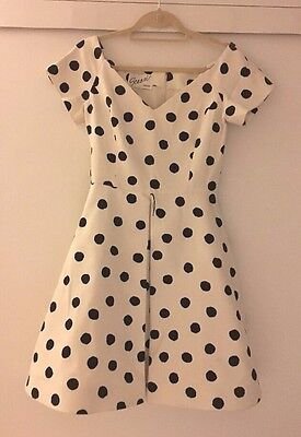 Arnold Scaasi Vintage 1990's White w/ Black Polka Dot Pleated Dress Sz 6 EUC