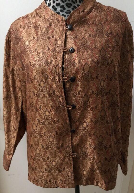 Vintage Reversible Chinese Silk Woven Gold Brocade Mandarin Collar Sz L