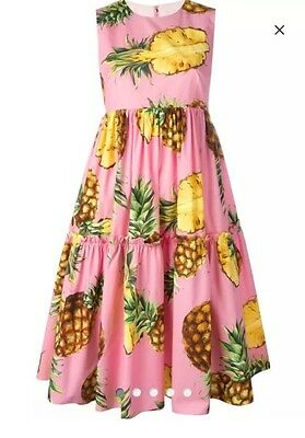Authentic NWT Dolce Gabbana Pineapple Pink Yellow Green Dress Size 42