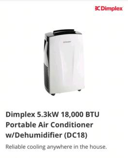 Dimplex 5.3kW Portable Air Conditioner w/Dehumidifier/Fan Cooler