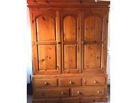 Solid pine wardrobe with 5 drawers