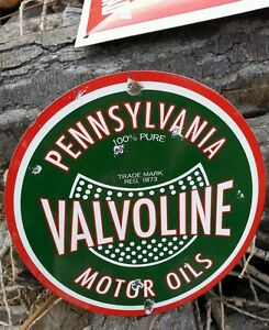 Valvoline-oil-porcelain-enamel-pump-plate-sign-decor-rustic-barn-seed-tractor