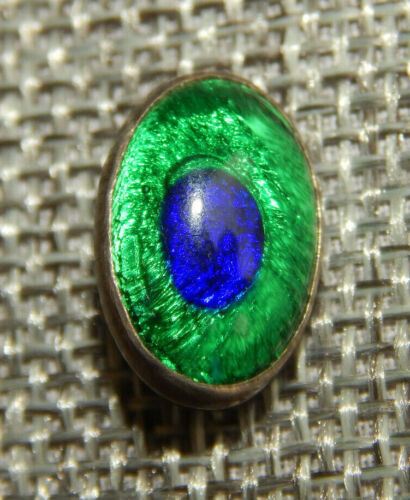 """Antique Vtg Button Peacock Eye Under Glass~Aprx:5/8""""~#1131-E"""