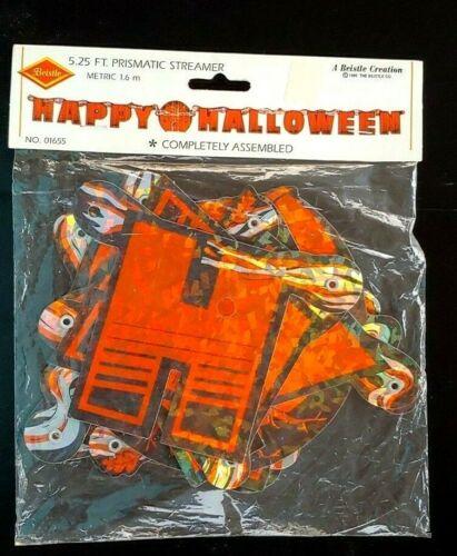 "Vintage 1995 RARE Beistle ""Happy Halloween"" PRISMATIC 5.25 Ft. Banner NIP"