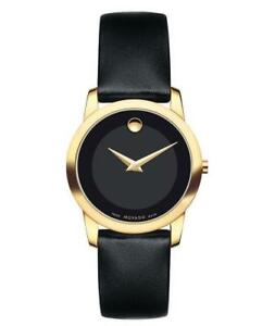 Movado Museum Classic Yellow Gold Women's Black Leather Strap Watch 0606877