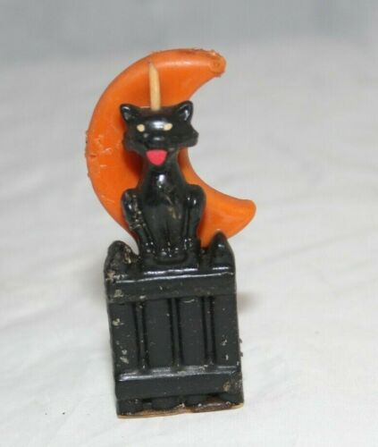 Vintage Gurley Novelty Halloween Wax Candle Cat Moon Fence W/ Sticker