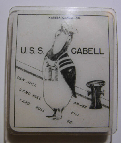 "WW2 Kaiser Shipyard ""USS CABELL""  ID Badge"