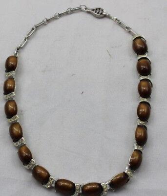 "Vintage Coro Silver tone 15 Brown Thermoset Necklace 45 Rhinestones 16 1/2"" Long"