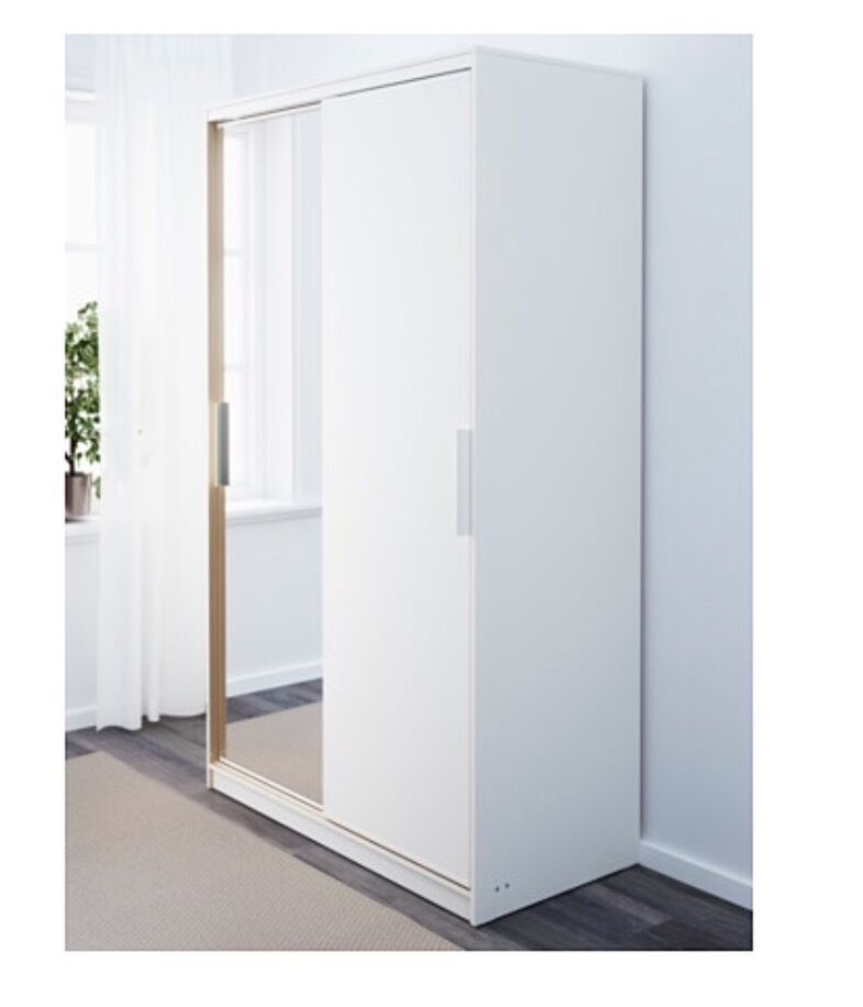 Ikea morvik wardrobe white mirror 1 year old in finsbury - Armoire ikea porte coulissante miroir ...