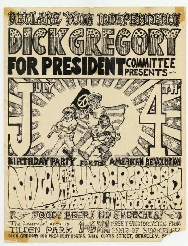 Dick Gregory For President 1968 Poster Notes From The Underground Psychedelic