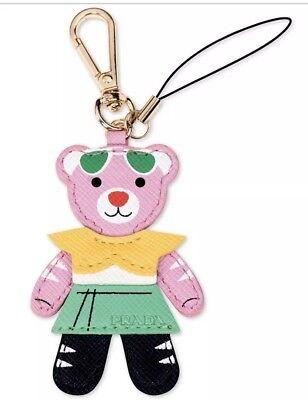 PRADA TEDDY BEAR CHARM Keychain Key ring chain holder or Hand Bag Purse Charm