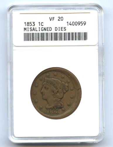 1853 Large (1c) Misaligned Dies- Anacs Vf 20-rare-mint Error-