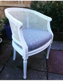 French side armchair in white cane back reupholstered