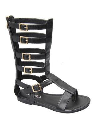 Kids Cage (Girls Zipper Up Gladiator Cage buckle Summer Studded Sandal Shoes Kids)