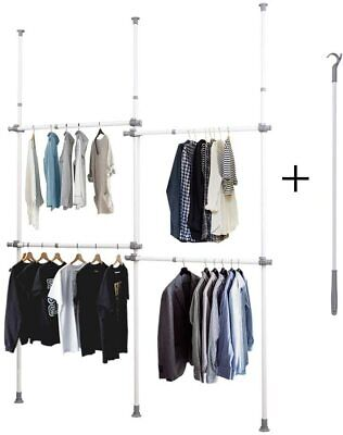 Garment Rack Clothing Closet Luban King Adjustable Double 2 Tier Heavy Duty Han