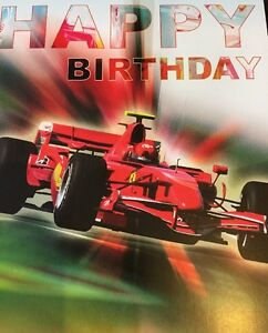 HAPPY BIRTHDAY Greeting Card, F1~ Ferrari ~ Men's, Boys,