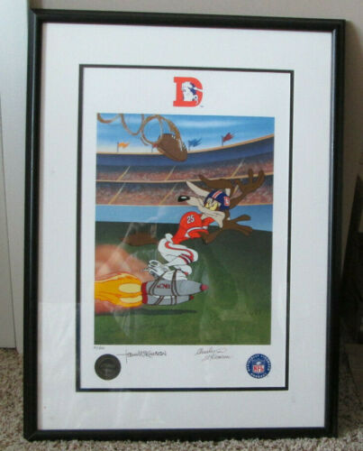 FRAMED MATTED LITHOGRAPH WILE E. COYOTE  WITH 4 AUTO
