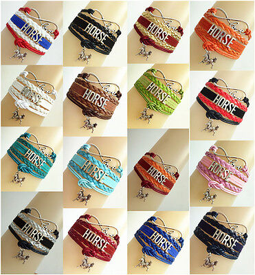 Infinity Love Horse With Money Horse Charms Leather Braided European Bracelet